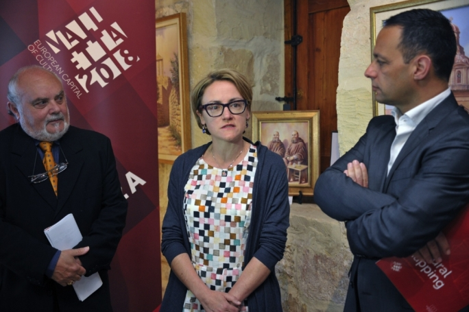Left to right: Arts Council chairman Albert Marshall, Prof Maria Attard and Valletta 2018 Foundation chairman Jason Micallef