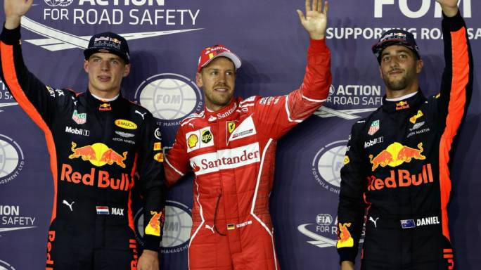 Sebastian Vettel together with Max Verstappen and Daniel Ricciardo