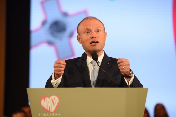 Prime Minister Joseph Muscat at a Labour conference in 2019