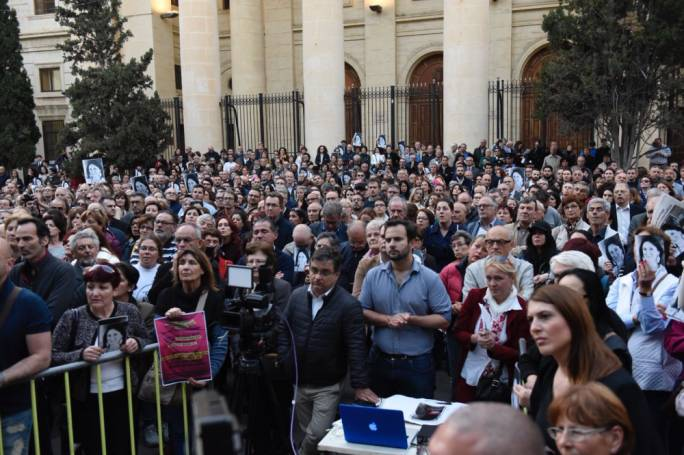 Hundreds attended a vigil in front of the law courts marking six months since the assassination of Daphne Caruana Galizia. Photo: James Bianchi/MediaToday
