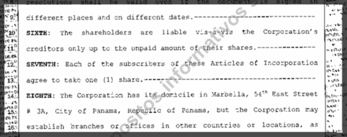 Dubro and Aliator, this screenshot from the incorporation document shows, were granted one share each