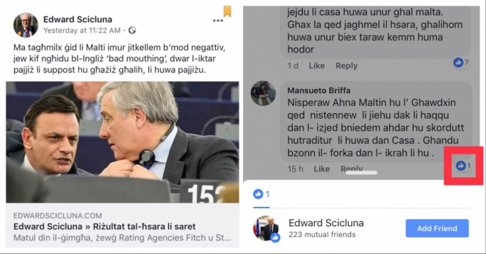 The offensive comment on Edward Scicluna's Facebook page calling for David Casa's hanging