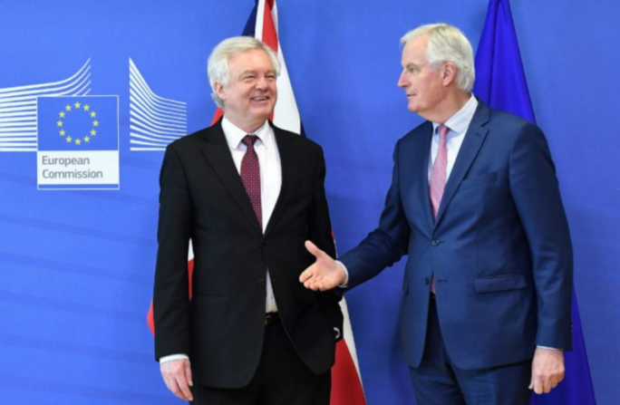 British Brexit minister David Davis (left) and EU chief negotiator Michel Barnier (right) in Brussels on Monday
