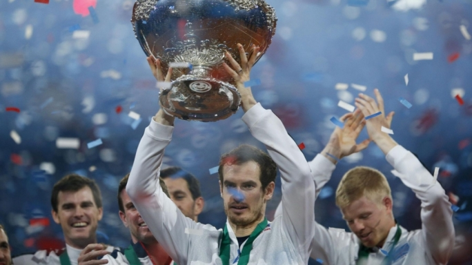 Andy Murray lifts the Davis Cup for the first time in 79 years for Great Britain