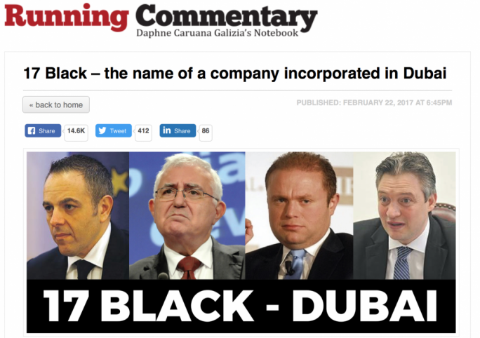 The cryptic blog Daphne Caruana Galizia put up in February 2017, which was the first time that 17 Black was mentioned