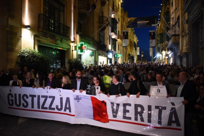 Thousands marched in Valletta to mark the first anniversary of Daphne Caruana Galizia's murder. (Photo: James Bianchi/MediaToday)