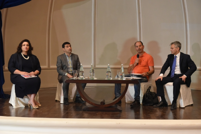 Helena Dalli, Ralph Cassar, Godfrey Farrugia and Simon Busuttil at a debate on LGBT+ rights