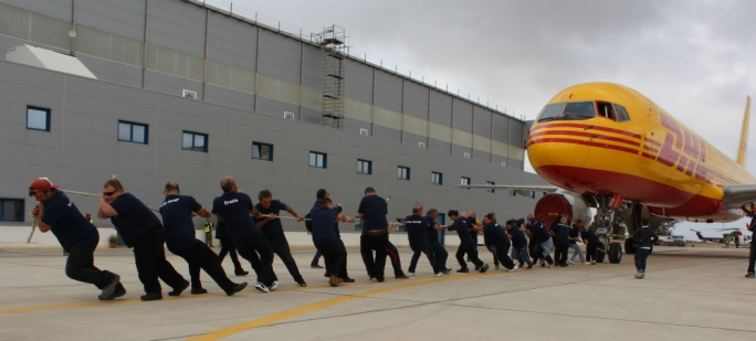 One of the teams taking part in Plane Pull Malta 3 – wearing gloves is going to be mandatory this year for health and safety reasons