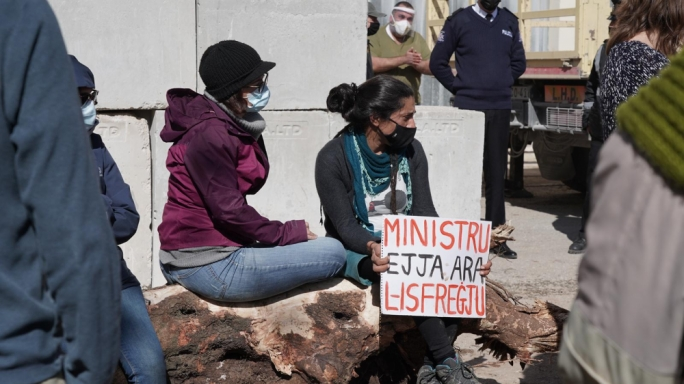 Activists on the site of the Dingli field where they physically stopped works