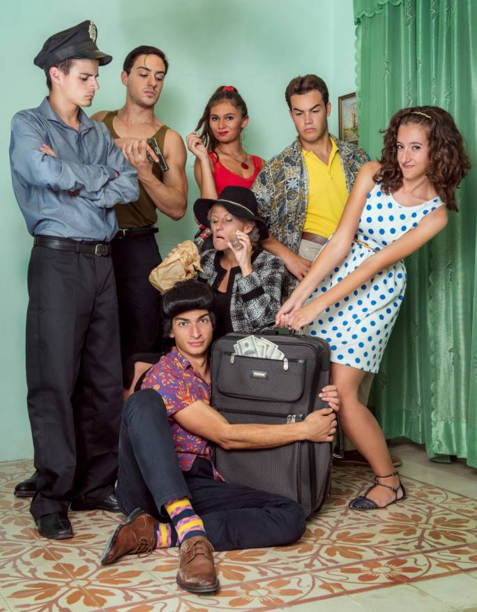The cast of Laugh? I Nearly Went to Miami!, staged at the Teatru Salesjan next week-end