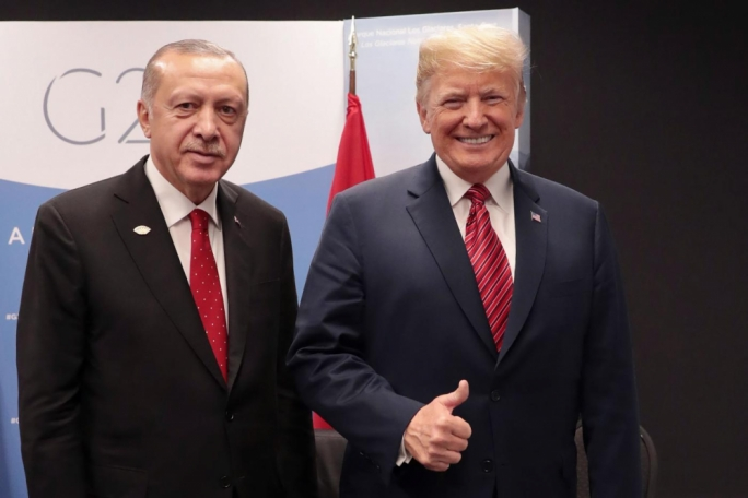 Turkey's president, Recep Tayyip Erdogan with US President Donald Trump