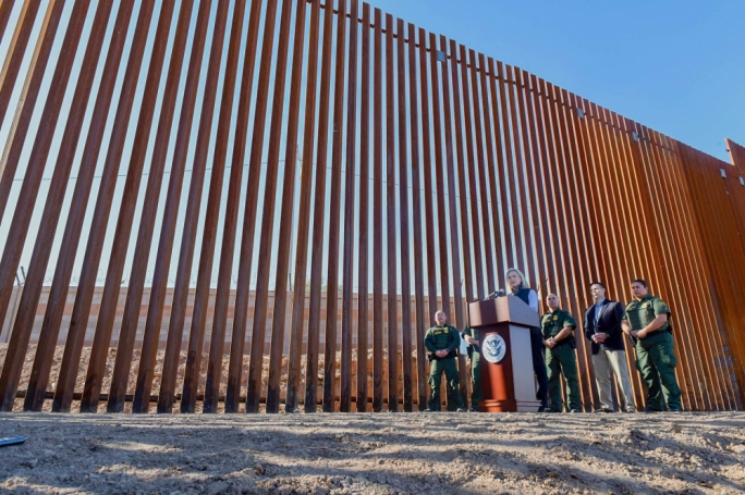 First section of Trump's wall has been unveiled at Mexico border