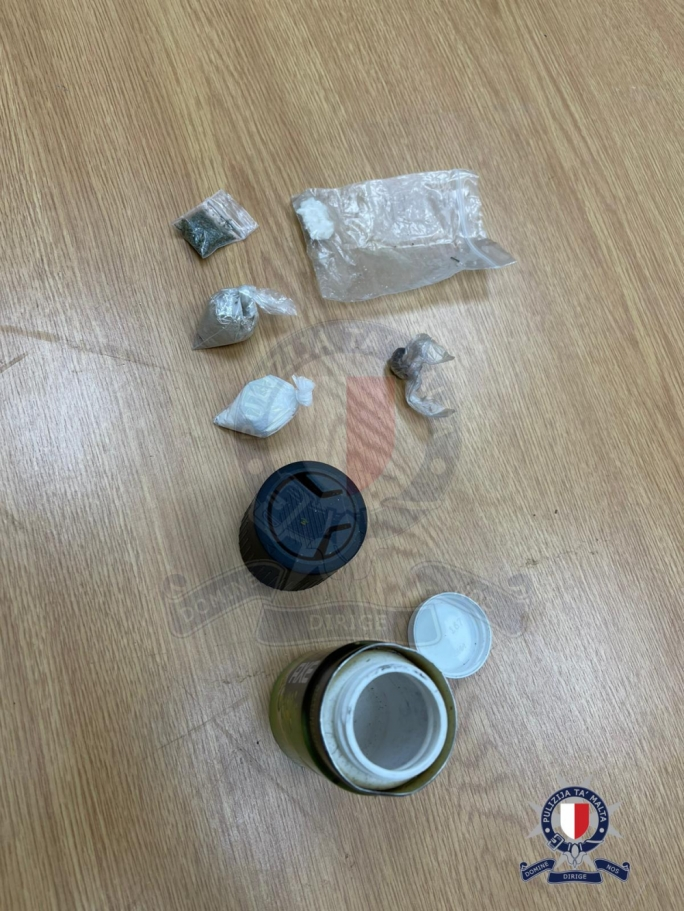 The suspected illicit substances seized during the raid