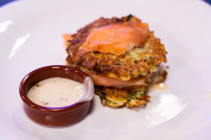 Zucchini pancakes as seen on Gourmet Challenge