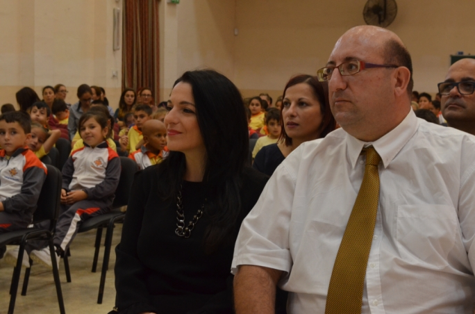 Farrugia with the Birzebbuga head of school