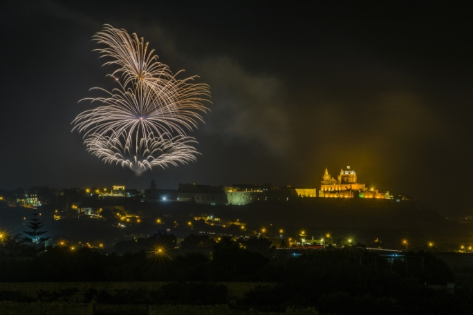 Fireworks light up the sky during Saturday's Haz-Zebbug village feast. Photo: James Bianchi