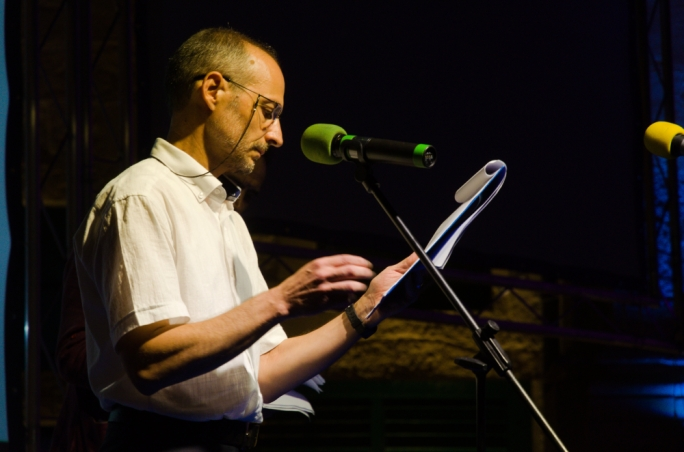 Fr Gioele Galea reading and participating at the 2016 edition of the Malta Mediterranean Literature Festival. Photography by Virginia Monteforte