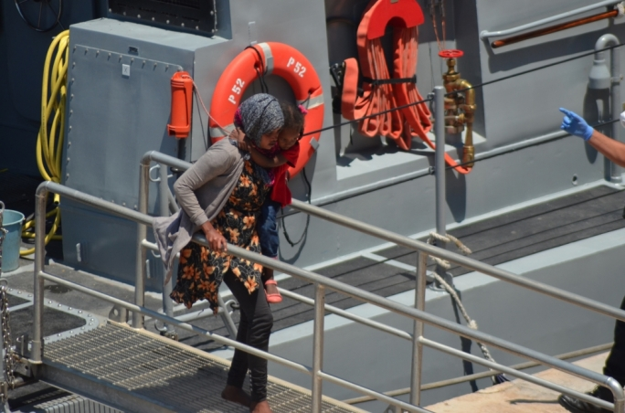A boy and a girl were among the group of migrants rescued by the AFM and brought to Malta onboard the P52