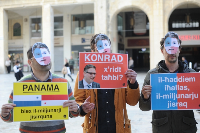 AD youths stage silent protest ahead of Konrad Mizzi's MEPs grilling