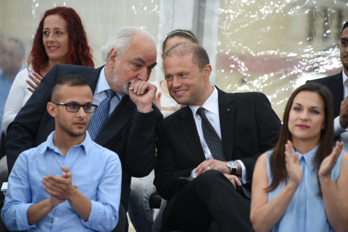Deputy Prime Minister Louis Grech and Prime Minister Joseph Muscat in Iklin. Photo: Chris Mangion