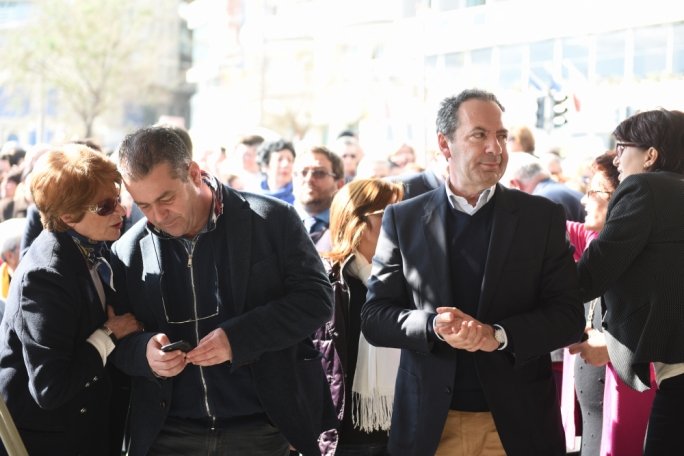 PN deputy leaders Beppe Fenech Adami and Mario de Marco at the rally. Photo: James Bianchi/MediaToday
