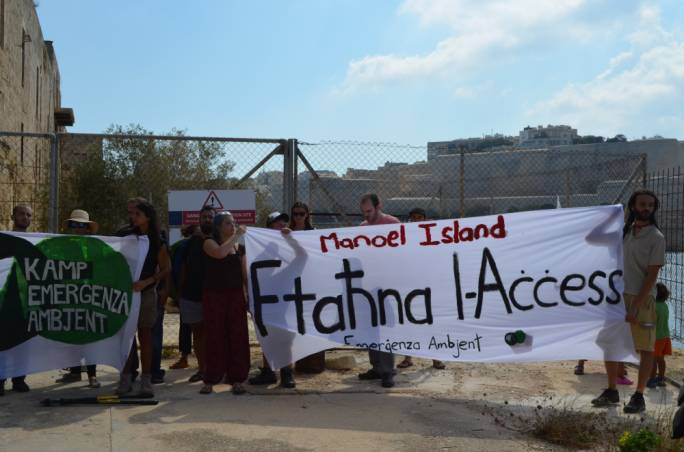 Graffitti and KEA prised open Manoel Island gates to protest the closure of the foreshore to the public