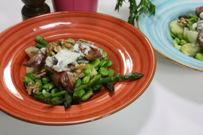 Broad bean, asparagus and duck salad
