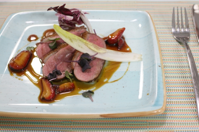 Duck breast with burnt honey and strawberry and lavender glaze