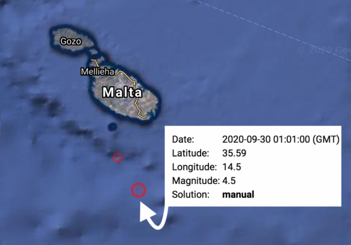 Malta rocked by 4.5 magnitude earthquake south of Filfla