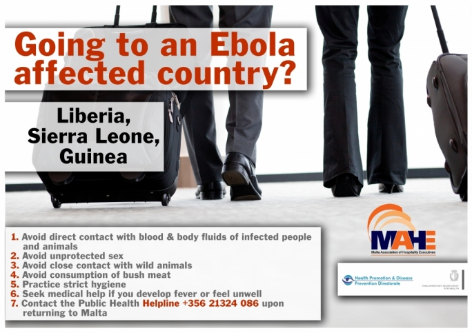 A poster issued by the PHA and MAHE warning tourists of travel to Ebola-affected regions