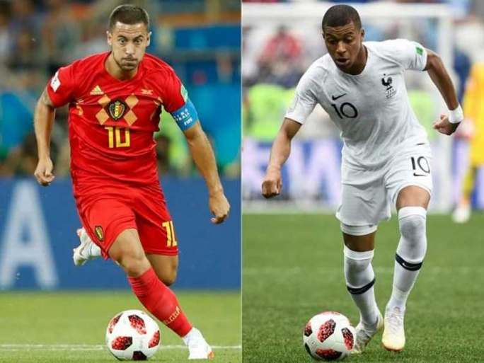 Eden Hazard of Belgium and Kylian Mbappe of France go head to head