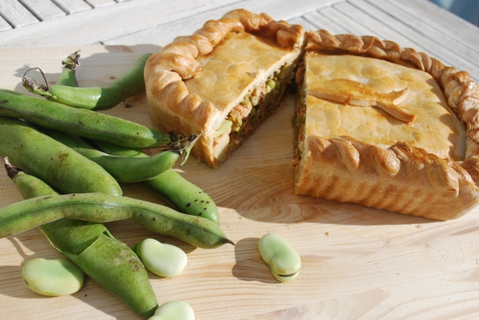 Meagre and spring veggie pie