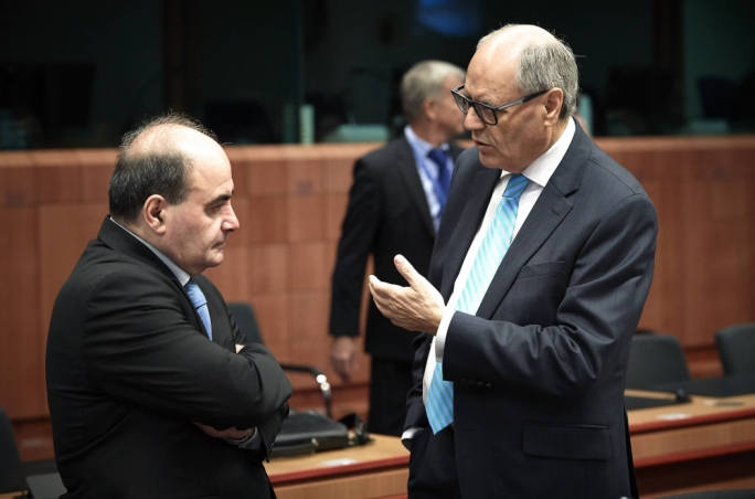 Edward Scicluna (right) at the European Council of finance ministers with permanent secretary Alfred Camilleri (left)