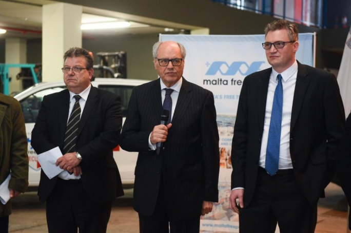 Ministers Edward Scicluna (centre) and Konrad Mizzi (right) are seen with customs boss Joe Chetcuti to show appreciation for the law enforcement agency's efforts to stop drug trafficking