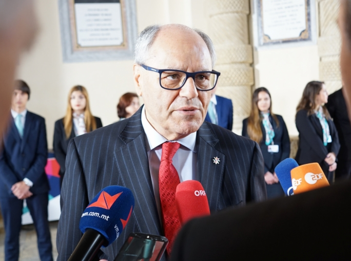 Finance Minister Edward Scicluna speaking to reporters ahead of the EU finance ministers' informal meeting in Valletta