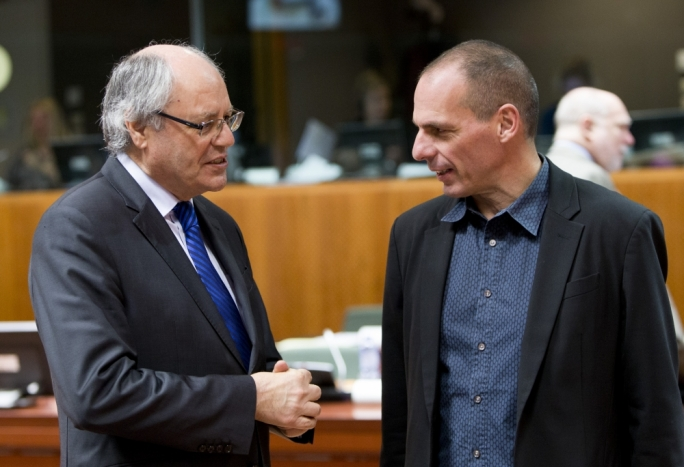 Maltese finance minister Edward Scicluna and Greek finance minister Yanis Varoufakis