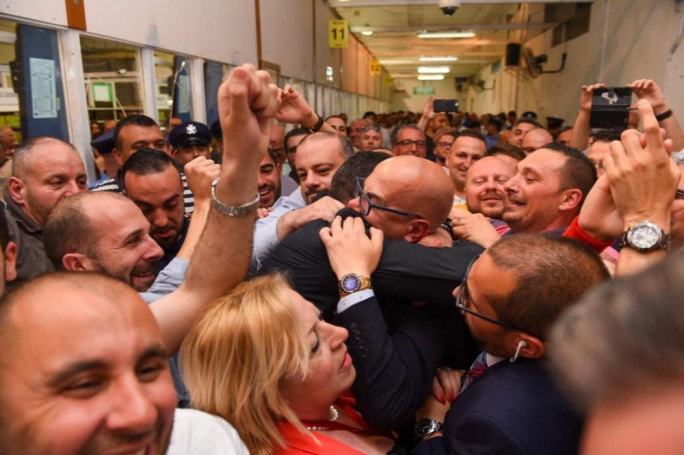 ONE TV presenter Alfred Zammit embraced after being declared first PL Mayor for Valletta