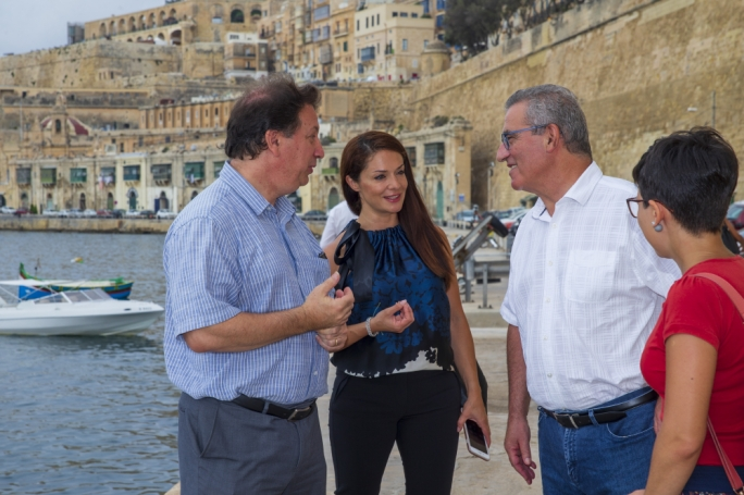 MEP Miriam Dalli and Education Minister Evarist Bartolo test the waters with innovative electric boat