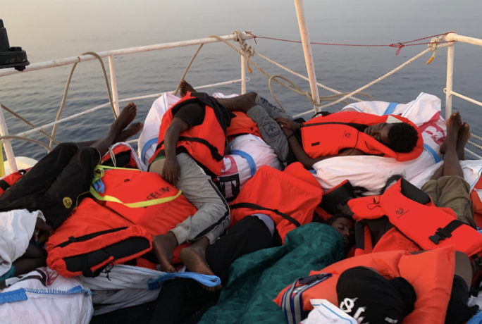 Migrants onboard the Eleonore spent the night with less than one sq.m each (Photo: Johannes Filous)