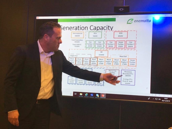 Enemalta CEO Jason Vella explaining the power generation sources used by the company