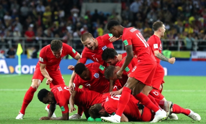 England players celebrate their victory after a penalty shootout with Colombia
