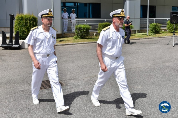 Italian Navy Rear Admiral (LH) Ettore Socci at the handover of the EUNAVFOR Sophia command from Italian Navy Vice Admiral Enrico Credendino