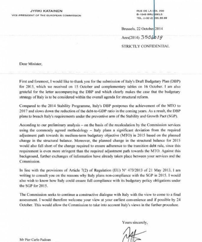 Letter to Italy from the European Commission claiming it will deviate from SGP targets up to 2017