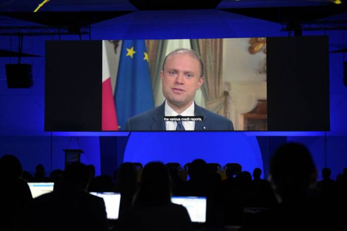 Prime Minister Joseph Muscat addressing the EY conference in a pre-recorded message