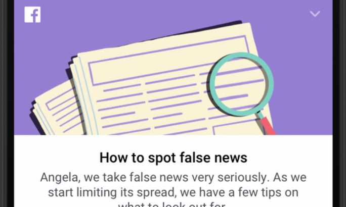 Facebook's page on fake news