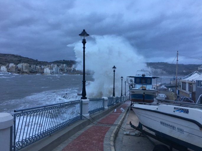 MaltaToday reader Dewi Muller captures the fierce waves lashing at boats at Fekruna area, Xemxija