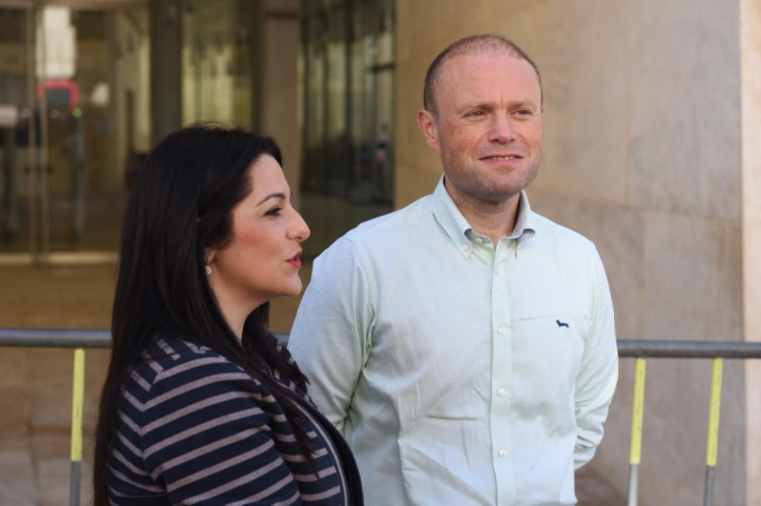 Prime Minister Joseph Muscat (right) with parliamentary secretary Julia Farrugia