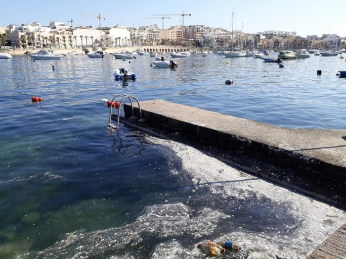 Slime was visible inside Marsaskala bay on Tuesday (Photo: John Baptist Camilleri)