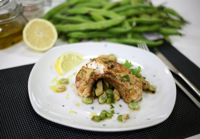 [WATCH] Fish steak on baked broad beans and artichokes
