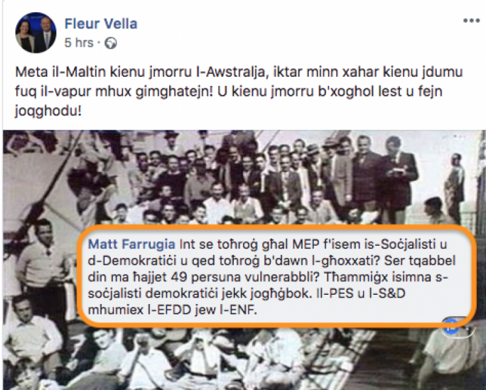Facebook turns on Labour candidate's ridiculous comparison of Sea Watch and Maltese migrants